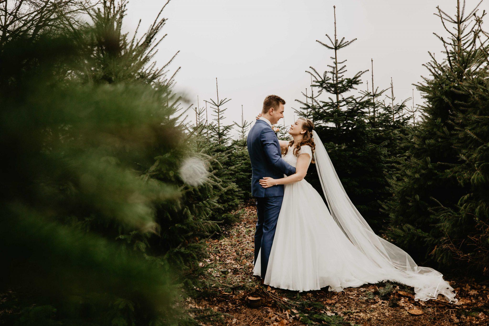 Trouwen in de winter, foto's maken in een dennenbos