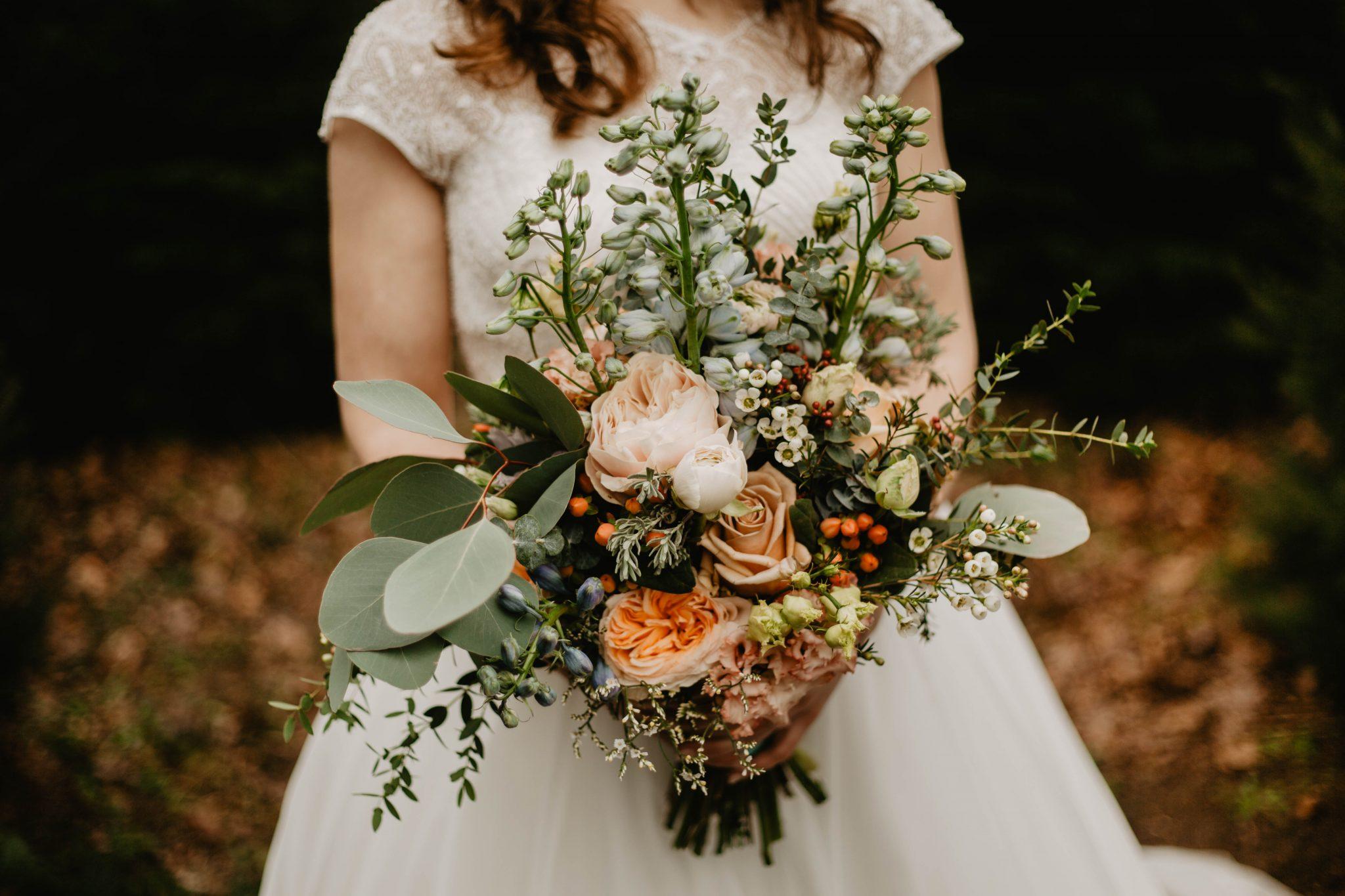 Bruidsfotograaf foto bruidsboeket bruid