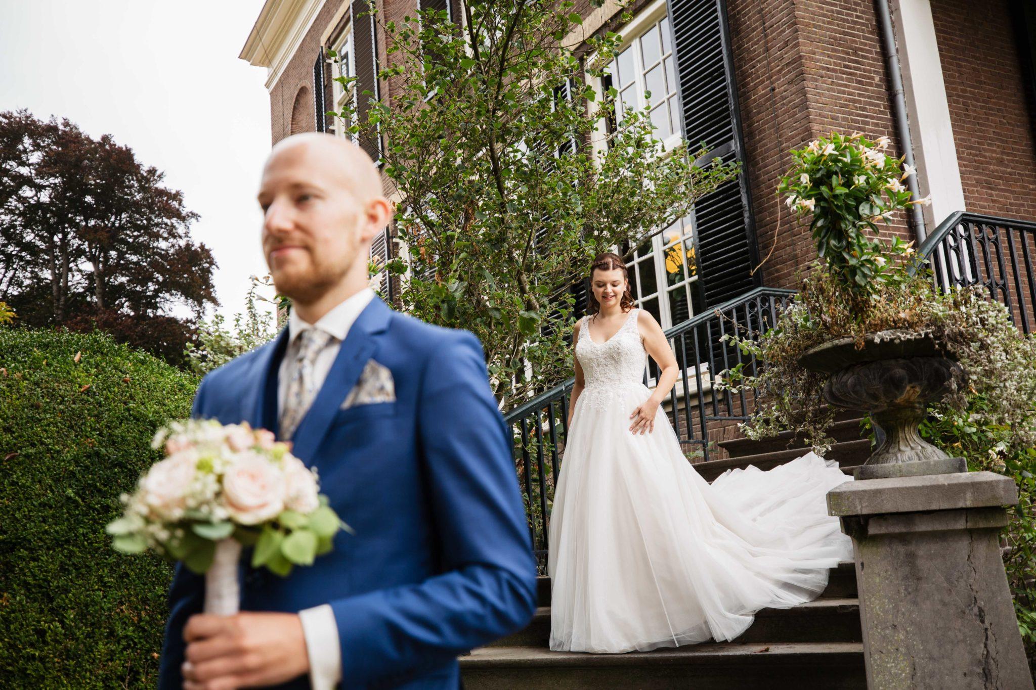 First look Bruidsfotografie Landgoed Rhederoord