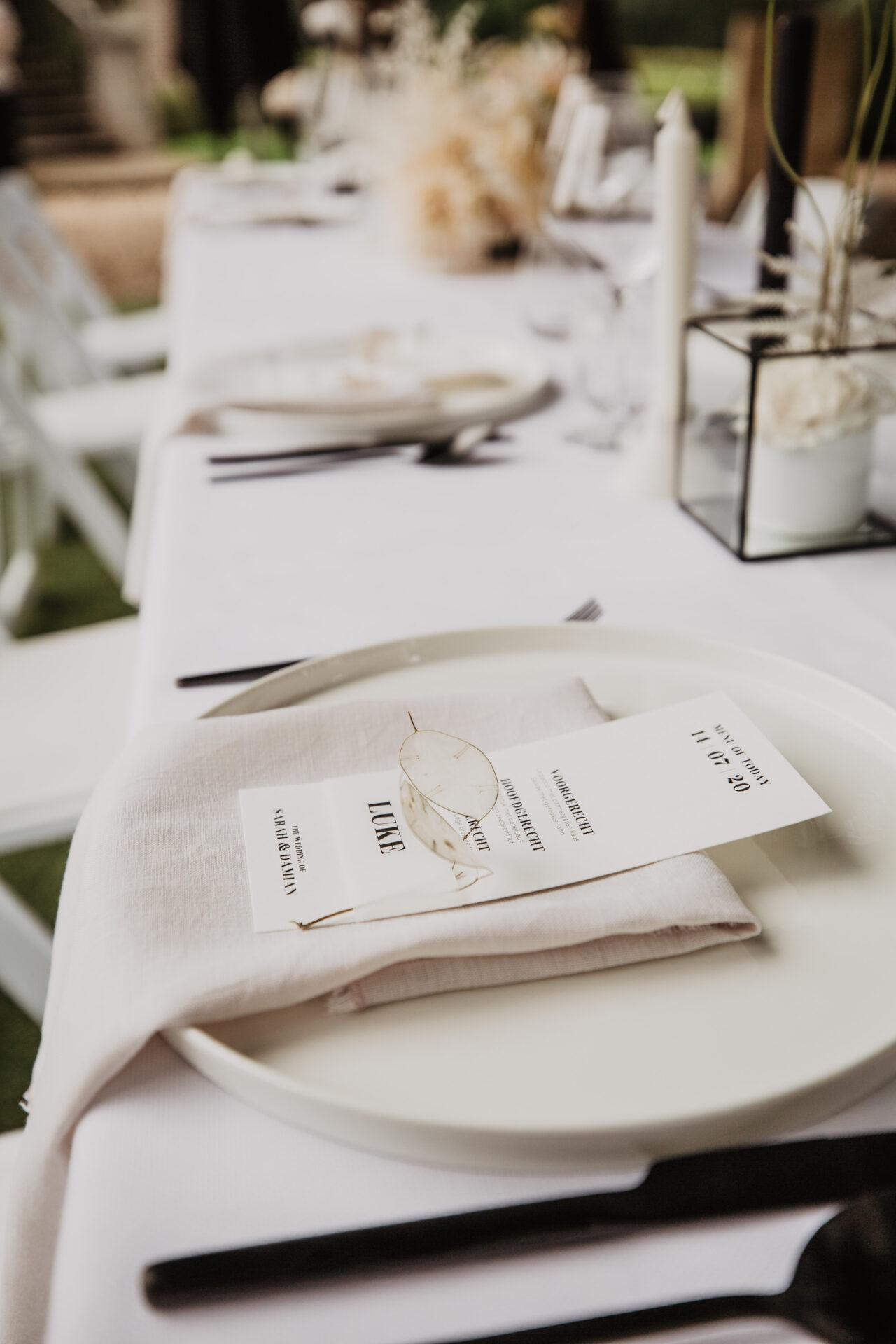 Tafelstyling Menu Kaart Bruiloft